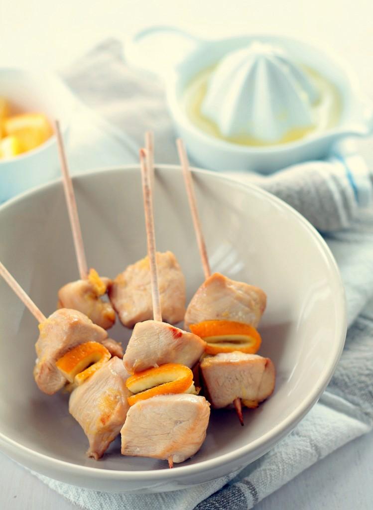 brochetas de pollo a la naranja - cocina para emancipados