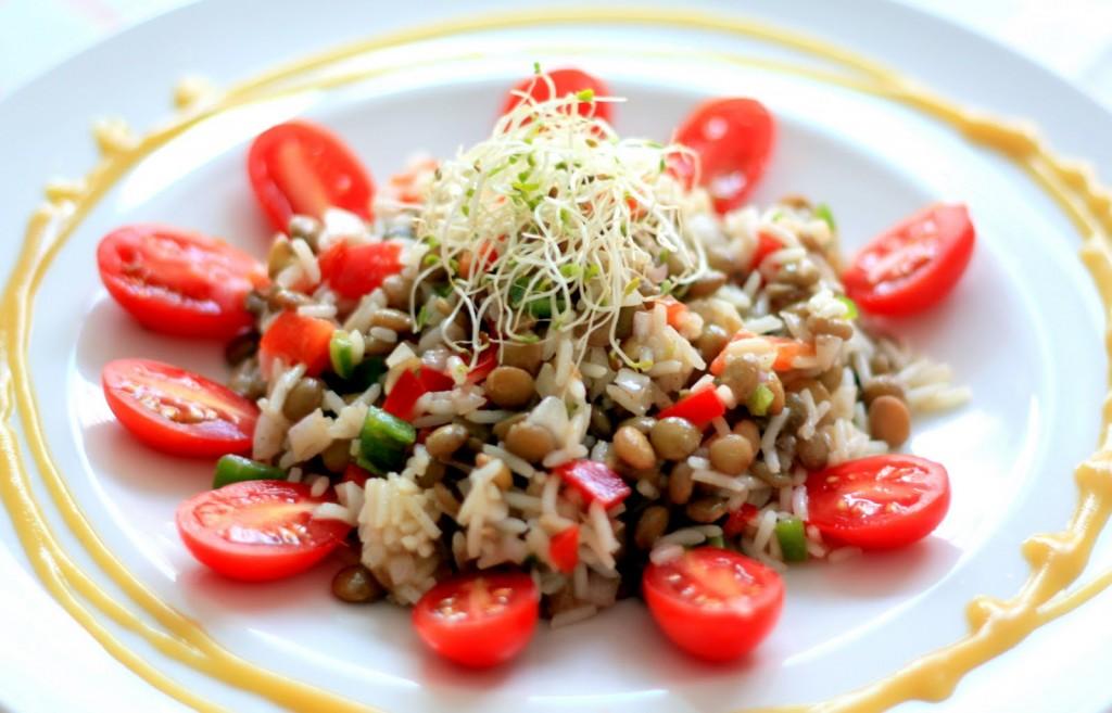 ensalada de lentejas y arroz