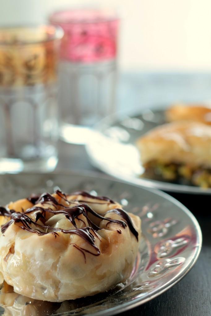 baklavas de avellanas y chocolate