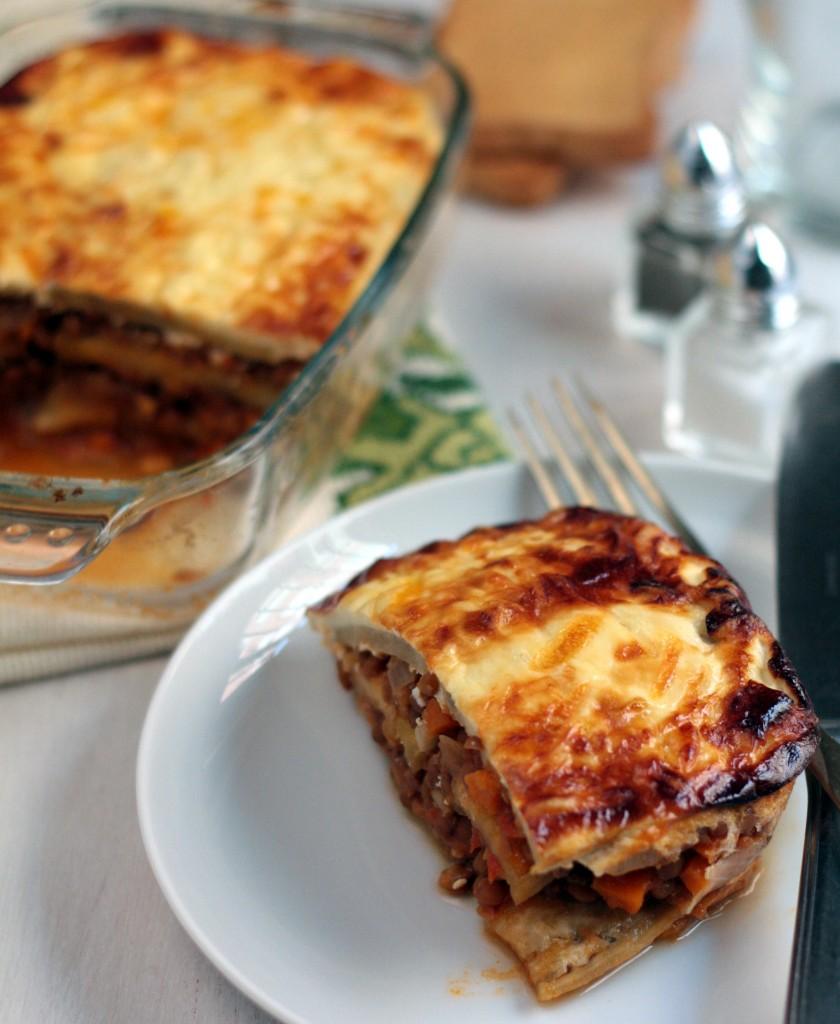 moussaka vegetariana con lentejas