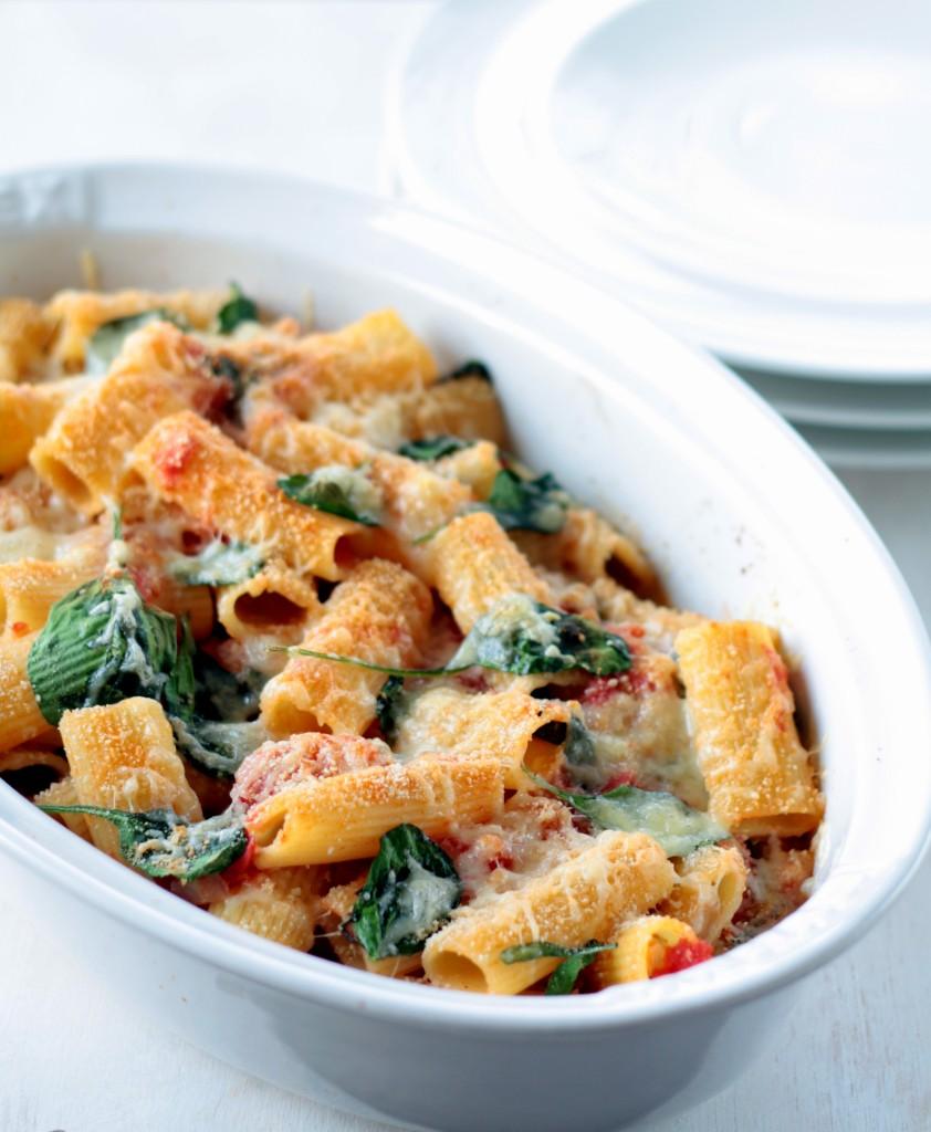 pasta con espinacas y tomate - spinach and tomato pasta - cocina para emancipados